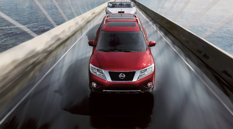 The 2016 Nissan Pathfinder can seat up to seven people and is powered by a 260 horsepower V6 engine