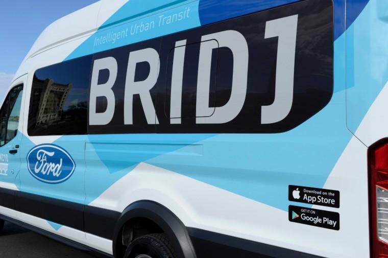 Ride KC: Bridj Ford Transit van