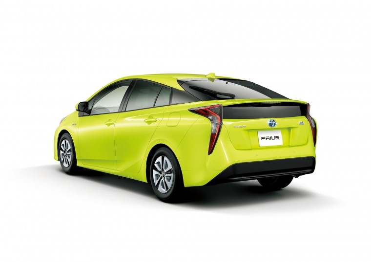 The 2017 Toyota Prius in the fuel-saving Thermo-Tect Lime Green paint color