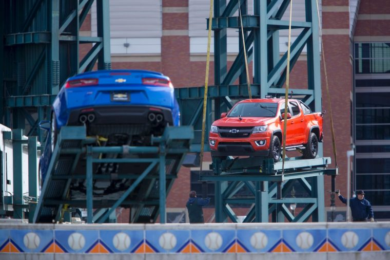 2016 Chevy Camaro SS and Colorado on top of Chevrolet Fountain at Detroit Tigers' Comerica Park