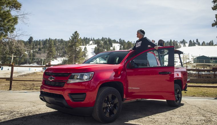 Fox Head Pro-surfer Damien Hobgood helped reveal the 2016 Chevrolet Colorado Shoreline during a daylong challenge to surf Huntington Beach, Calif., in the morning and snowboard down Big Bear Lake's slopes in the afternoon.