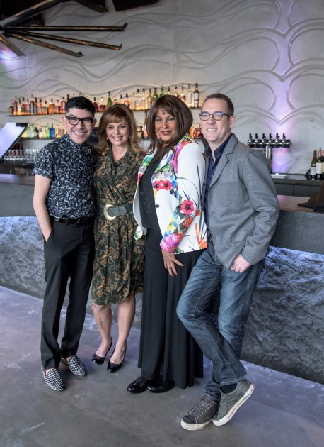 Volunteer spokespeople for the Subaru-sponsored 2016 Dining Out For Life event include (from left to right) Mondo Guerra, Daisy Martinez, Pam Grier, and Ted Allen