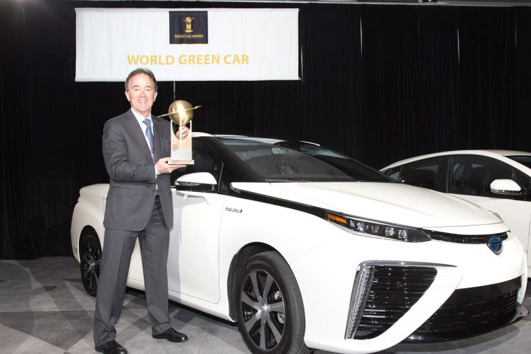 The Toyota Mirai was named the 2016 World Green Car at the New York International Auto Show