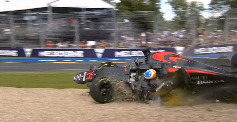 Alonso sideways crash