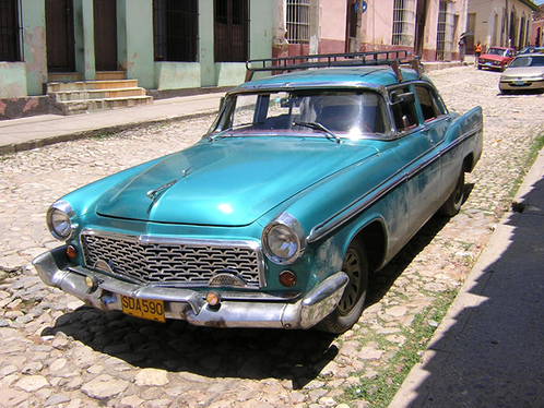 Cuban Classic Car Blue Roof Rack