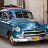 Cuban Classic Car Blue with Cargo Holder