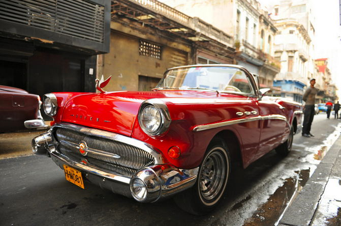 Cuban Classic Car Side View