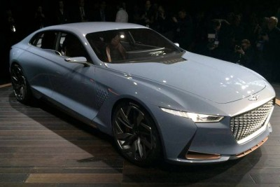 Genesis New York Concept Debut hybrid sports sedan profile