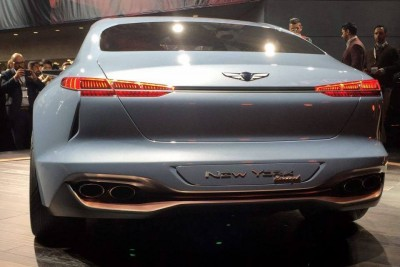 Genesis New York Concept Debut hybrid sports sedan trunk