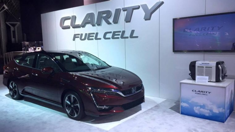 The next-generation of the Honda Clarity Fuel Cell sedan was showcased at this year's New York Auto Show alongside the new Civic Hatchback
