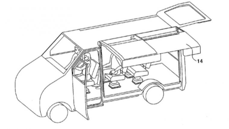 Hyundai patent sliding gullwing door on RV