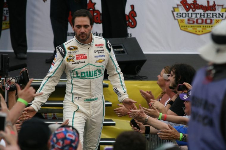 With a win this Sunday Jimmie Johnson will break his tie with Dale Earnhardt Sr. on the all-time NASCAR wins list