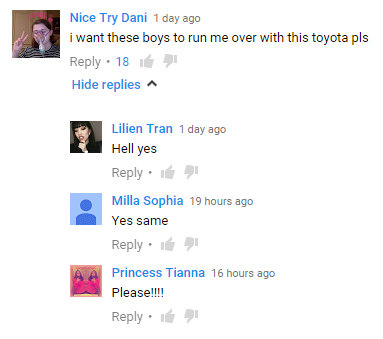 One Direction Toyota Vios commercial comments