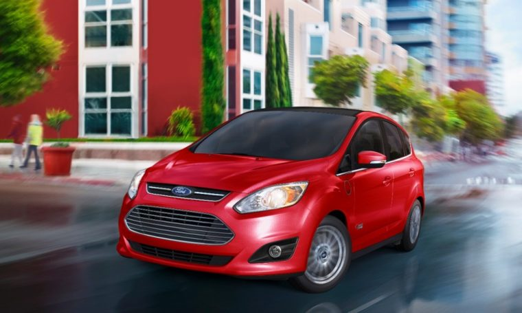 The 2016 Ford C-MAX is a four-door hatchback that's available in both hybrid and plug-in hybrid variants