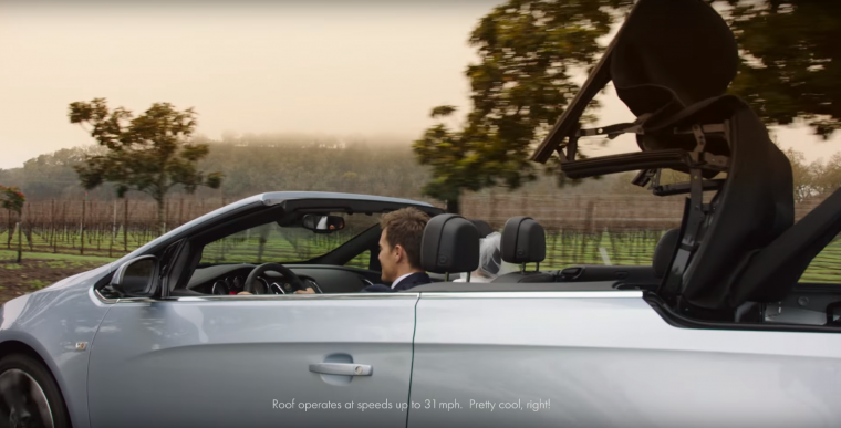 Still from 2016 Buick Cascada convertible wedding commercial