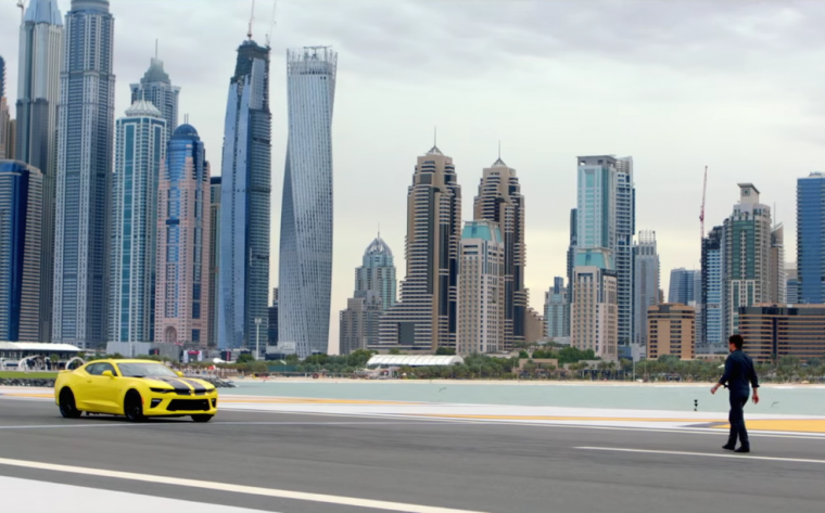 Still from Chevrolet Arabia's #Zero100Zero video showing 2016 Chevy Camaro SS and stunt driver Martin Ivanov on Skydrive Dubai Runway