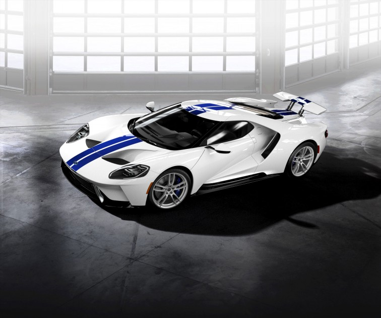 2017 Ford GT Frozen White Lightning Blue Stripes