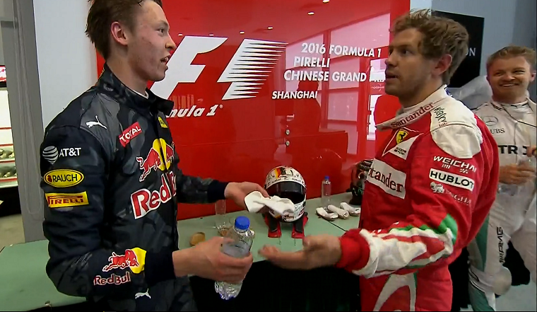 Vettel and Kvyat argue