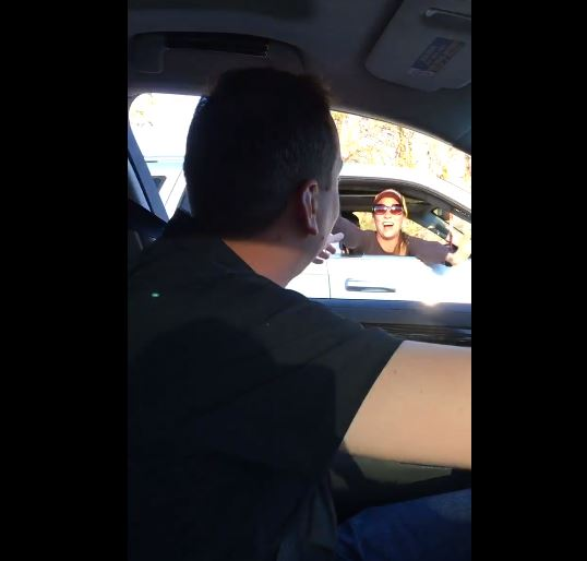 Kyle Busch surprises fan in car