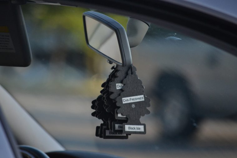 Car air freshener on rear view mirror