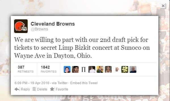 Cleveland Browns tweet about the fake Limp Bizkit concert happening at a Sunoco gas station in Dayton.