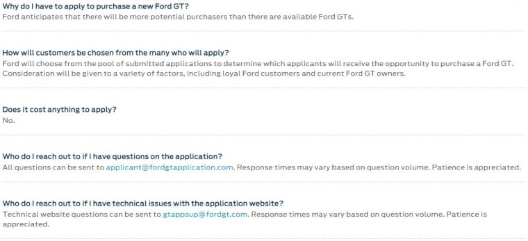 FAQs Ford GT application