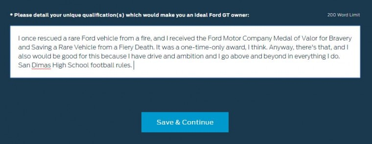 Ford Gt Application Unique Qualifications