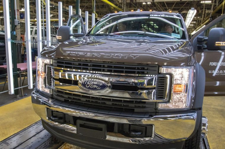 A Ford Super Duty being built at Ohio Assembly Plant