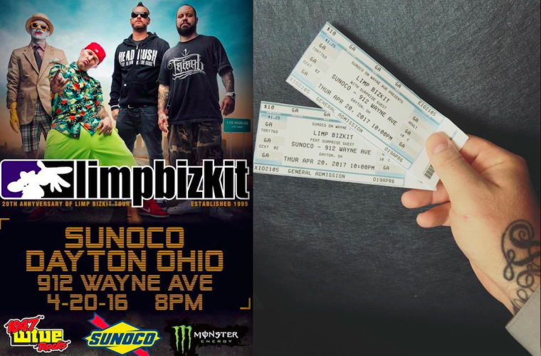 Limp Bizkit Sunoco Dayton Ohio Wayne Ave 4-20 concert poster and tickets