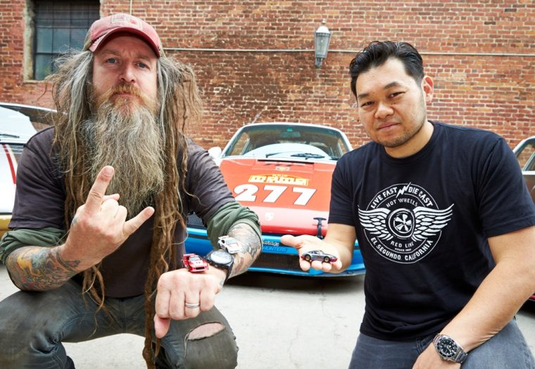 Magnus Walker poses with Hot Wheels Head of Design, Jun Imai