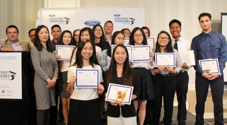 Students from Yerba Buena High School accept awards from Ford Driving Dreams