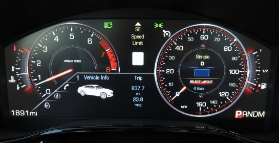 2014 Cadillac CTS Digital Gauge Cluster with Speed Limit