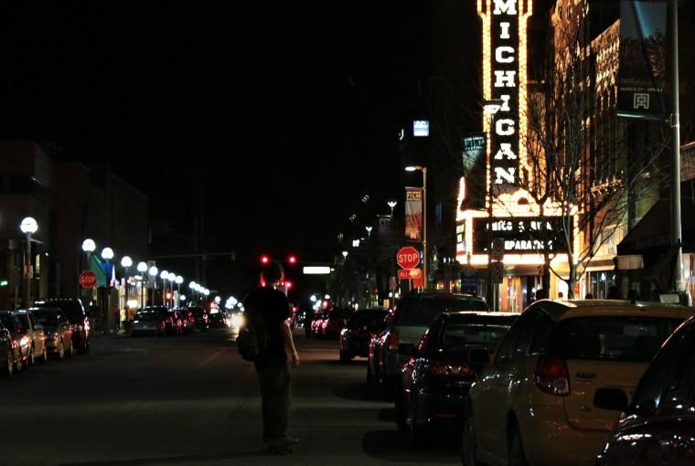 Ann Arbor Michigan city at night