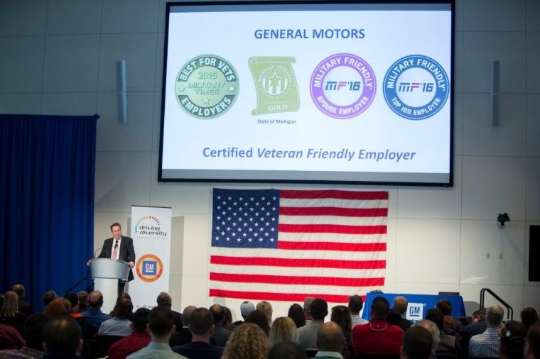 GM executive Mark Reuss speaks during a Veterans Day celebration in Warren, Michigan