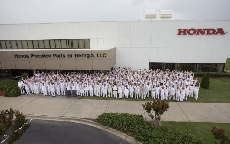Associates at Honda Precision Parts of Georgia, located in Tallapoosa,  celebrate 10 years of transmission production.