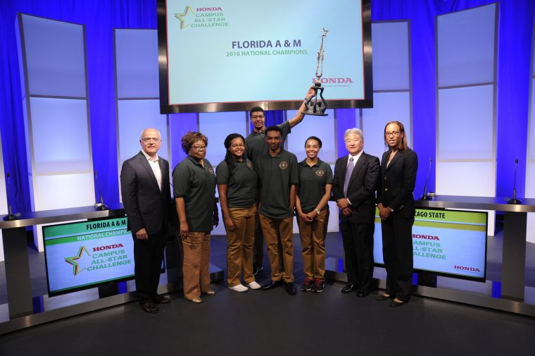 Representatives from Honda congratulate the winning team from Florida A&M University