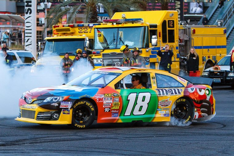 Toyota racecar driver Kyle Busch picked up his third win of the NASCAR season at this past Saturday's race at Kansas Speedway