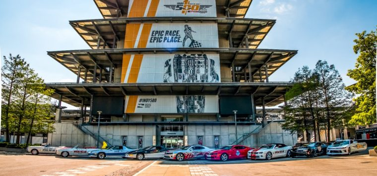 Nine generations of Camaro pace cars at the Indy 500