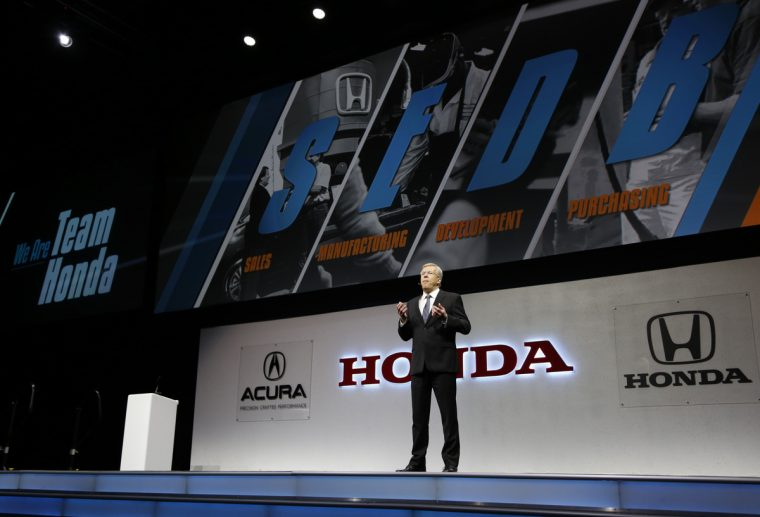Tom Lake, vice president for North American Purchasing at HNA speaks at the 32nd annual Honda Supplier Conference.
