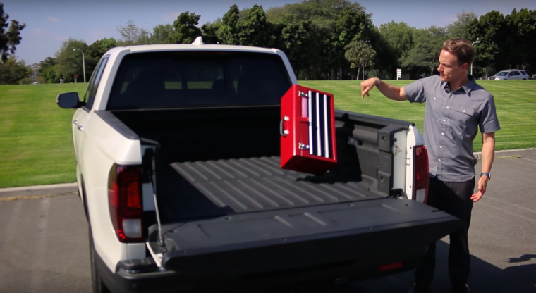 2017 Honda Ridgeline toolbox test shows its composite bed is better than the Ford F-150 and Chevy Silverado