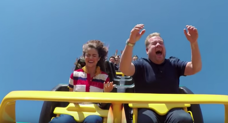 James Corden Selena Gomez Carpool Karaoke Roller Coaster