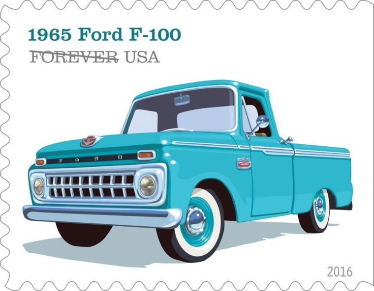 The 1965 F-100 is one of the vehicles featured in the U.S. Postal Service's new stamp collection that pays tribute to pickup trucks