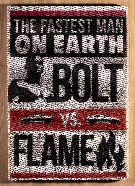 Usain Bolt Fire Race Poster - Nissan