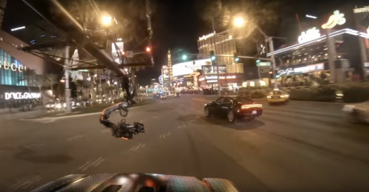 Dodge Charger in Jason Bourne car chase footage shot on Las Vegas strip