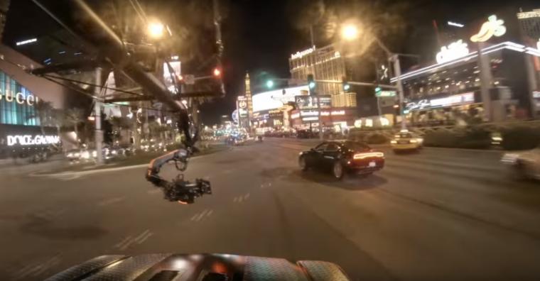 Dodge Charger in Jason Bourne car chase footage shot on Las Vegas strip