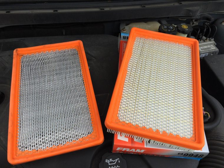new vs old air filter comparison