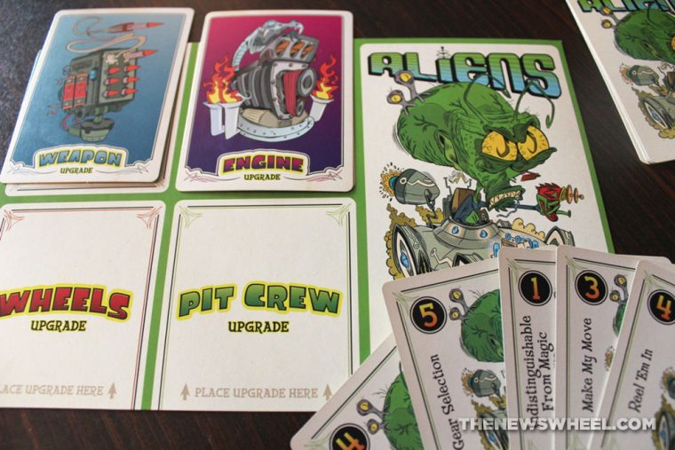 Hot Rod Creeps customizable racing game Cryptozoic review aliens player mat