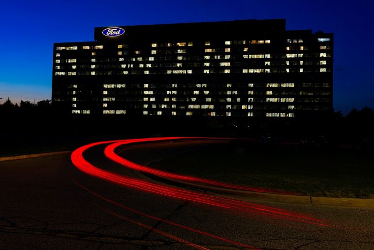 "Ford lights up World Headquarters to read ""GT Wins at Le Mans"""