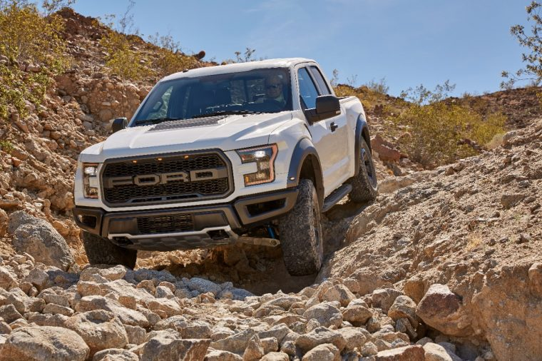 White 2017 Ford F-150 Raptor in desert