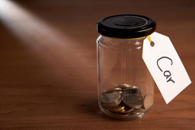 money in jar for car cash change coins
